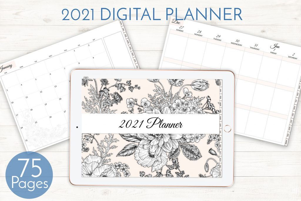 2021 Digital Planner, Peach Floral